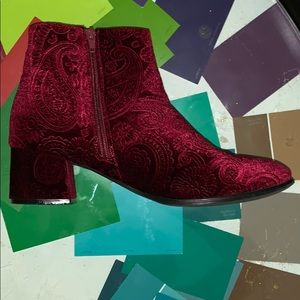 Cranberry maroon suede ankle boots